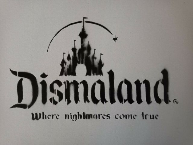 """Banksy, 'BANKSY DISMALAND """"WHERE NIGHTMARES COME TRUE"""" CANVAS WITH STORE RECEIPT', 2015, Arts Limited"""
