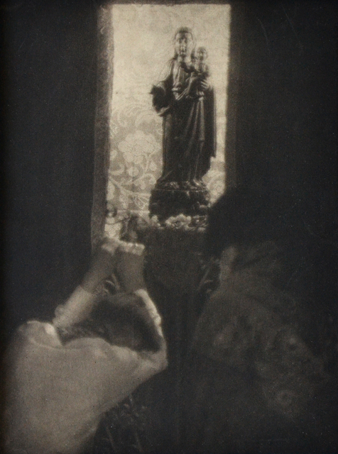 Doris Ulmann, 'Untitled (Two people bowing before a statue of a Madonna and child)', nd, Scheinbaum & Russek Ltd.