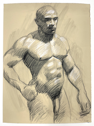 Untitled Nude Male / On the reverse, seated male nude