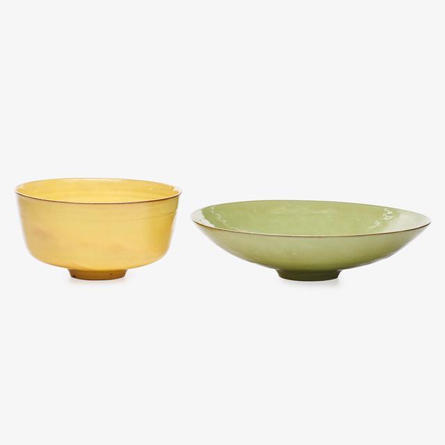 Gertrud Natzler, 'Celadon and yellow bowls, Los Angeles, CA', 1958, Design/Decorative Art, Glazed earthenware, Rago/Wright