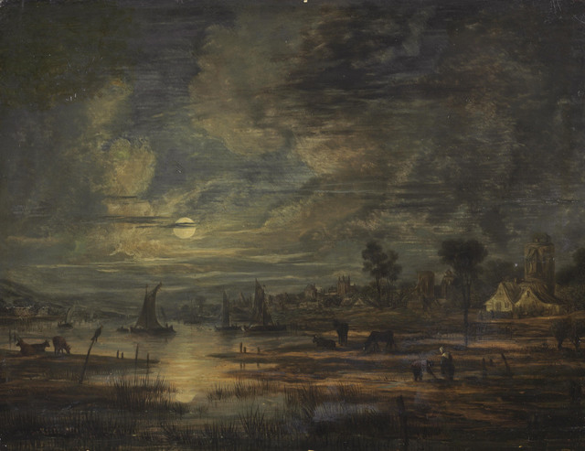 Follower of Aert van der Neer, 'A moonlit river landscape with boats, cows, figures and a town beyond', Painting, Oil on Panel, Christie's Old Masters
