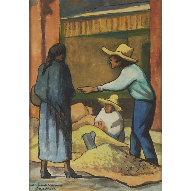 Diego Rivera, 'The Merchant', Drawing, Collage or other Work on Paper, Watercolor and mixed media on Japan-style paper laid down to paper board, Freeman's