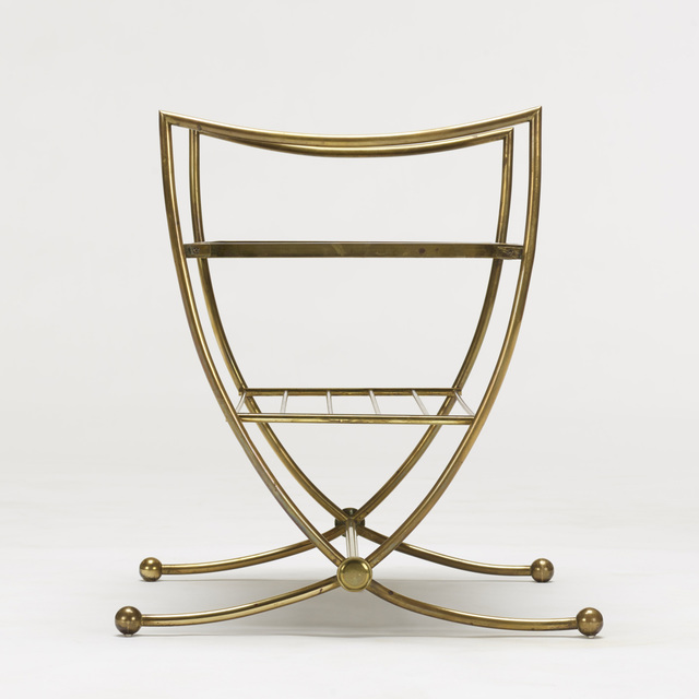Jean Royère, 'occasional tables, pair', c. 1950, Design/Decorative Art, Brass, Vitrolite, Rago/Wright