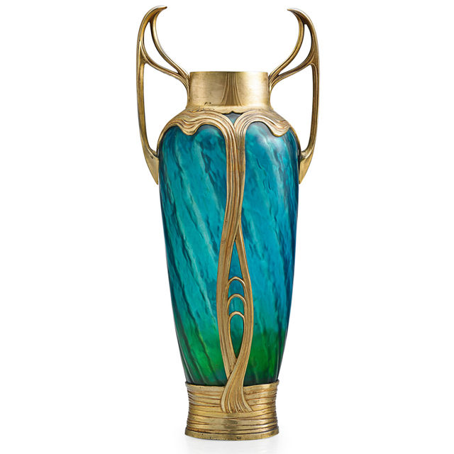 'Bohemian, Tall Vase With Art Nouveau Mount', Early 20th C., Rago/Wright