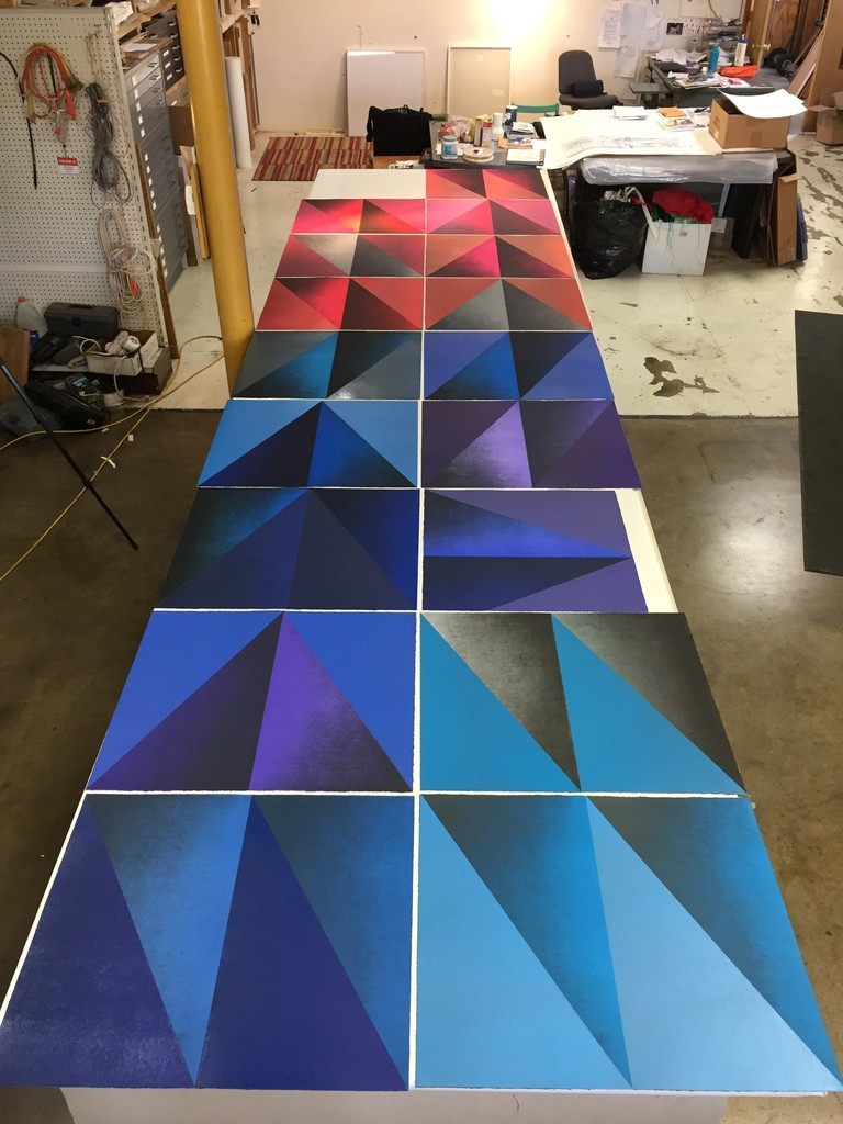 """All of Kate Petley's """"Overture"""" prints laid out at Manneken Press, August, 2018."""