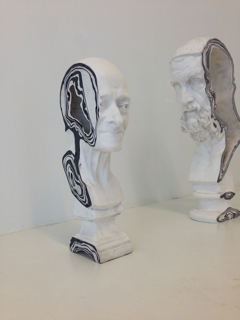 , 'Sawn Voltaire and Aristoteles,' 2017, Galerie Clara Maria Sels