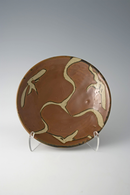 , 'Plate, kaki glaze with wax resist brushwork,' 1950, Pucker Gallery