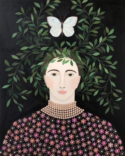 "Leslie Barron, '""Hover II"" Mixed Media portrait painting of a woman with leaves and butterfly over her head', 2019, Eisenhauer Gallery"