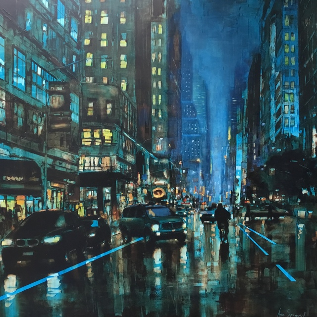 , 'Cityscape in Blue and Gold,' 2019, GALLERI RAMFJORD
