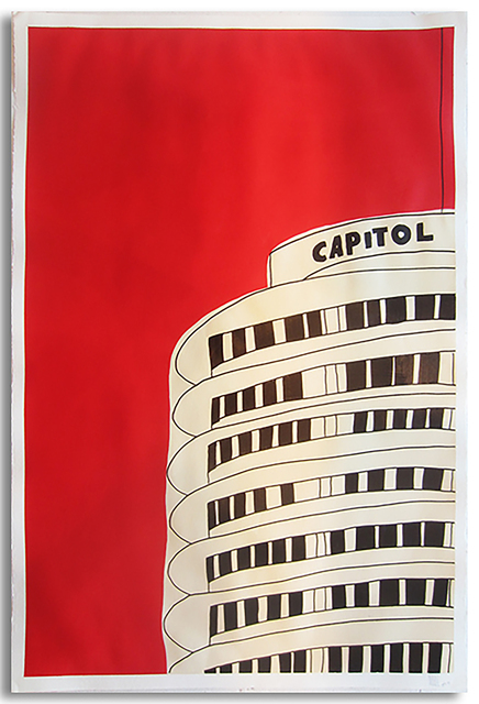 Marz Junior, 'Red Capitol Records Bldg (left side) ', 2019, Wallspace