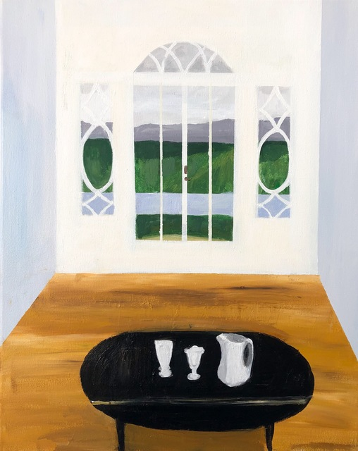 Polly Shindler, 'Drop Leaf Table with Pitcher and Sundae Glasses', 2018, Painting, Acrylic on canvas, Caitlin Berry Fine Art