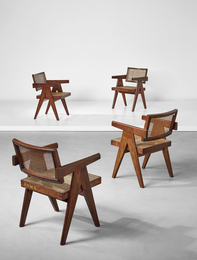 """Set of four """"Office"""" armchairs, model no. PJ-SI-28-A, designed for the Architects Office, Secrétariat, and administrative buildings, Chandigarh"""