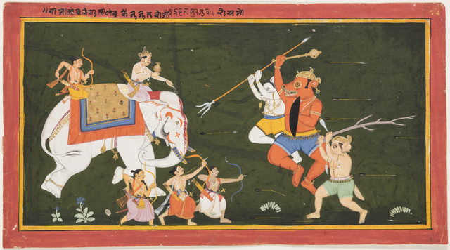 , 'Indra battles the demon Vritrasura,' 1680-1700, Princeton University Art Museum