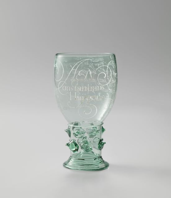 Anna Roemers Visscher, 'Wine Glass engraved with a poem to Constantijn Huygens', 1619, Rijksmuseum