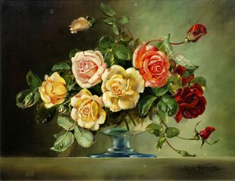 Pink, yellow and red roses in a glass vase
