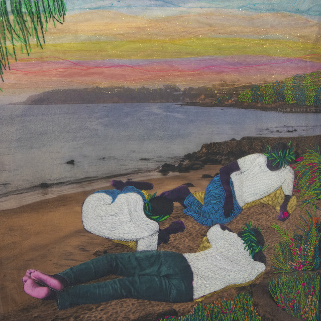 Joana Choumali, 'We only know what the present is ', 2020, Mixed Media, Embroidery on digital photography printed on canvas, Loft Art Gallery