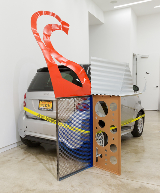 Jessica Stockholder, 'Assist #1 A Cyst', 2015, Installation, Painted metal, ratchet clamp with yellow webbing, felt (if needed), some kind of found support to clamp the work to., Kavi Gupta