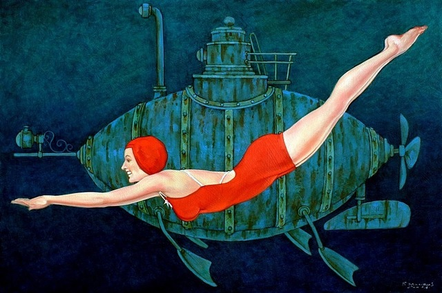 """Fred Calleri, '""""Busby Berkley"""" Woman in Red Bathing Suit Swimming in Deep Green water with Submarine', 2010-2018, Eisenhauer Gallery"""