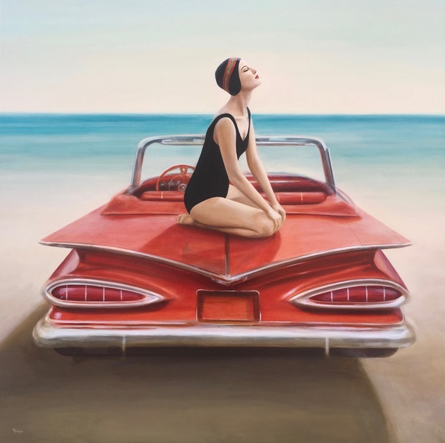 ", '""The Red Beauty"" Woman in Black Bathing Suit Posing on 1959 Chevy on Beach ,' 2017, Eisenhauer Gallery"