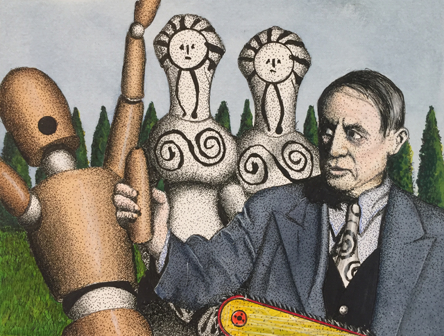 Michael Dwyer, 'Woodman wails! Picasso cut off his you know what w/ a chainsaw for sexual advances with his twins', 2019, Painting, Mixed Media, M.A. Doran Gallery