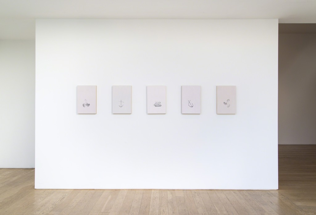"Installation view of Blue McRight, ""Drink Me,"" 2015."