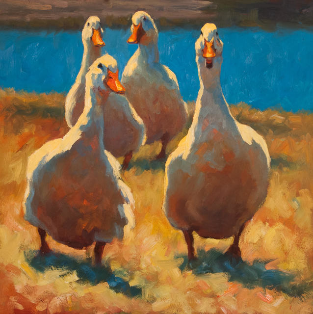 """Cheri Christensen, '""""Gossiping"""" oil painting of four white ducks waddling in grass with blue lake behind', 2019, Eisenhauer Gallery"""