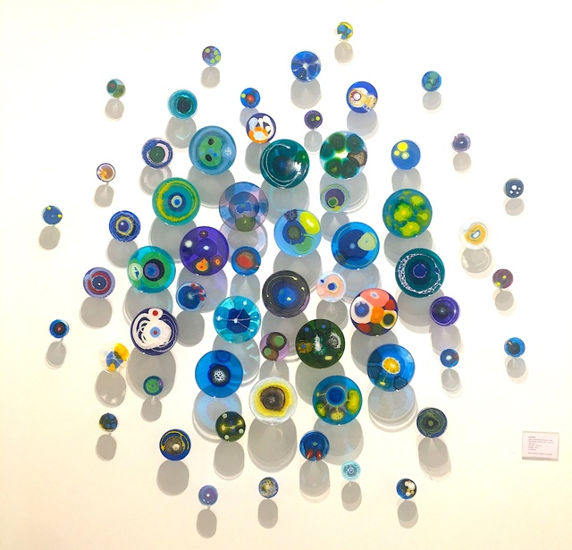 Klari Reis, 'Hypochondria Blue, 60 pieces', 2018, Sculpture, Mixed Media on Petri Dish, T-nuts and Steel Rods, Cynthia Corbett Gallery
