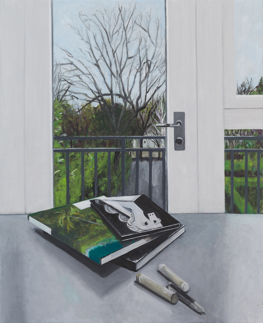 Ed Miliano, 'Still Life with Three Books, Two Oil Crayons and Two Tortillons', 2019, Oliver Sears Gallery