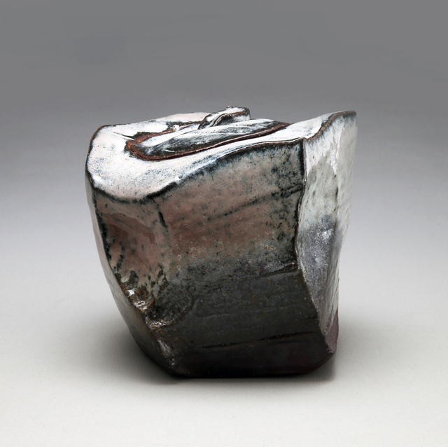 Kaneta Masanao, 'Irregular faceted, square, covered Hagi and ash-glazed water container with extensive kiln effects', 2014, Joan B. Mirviss Ltd.