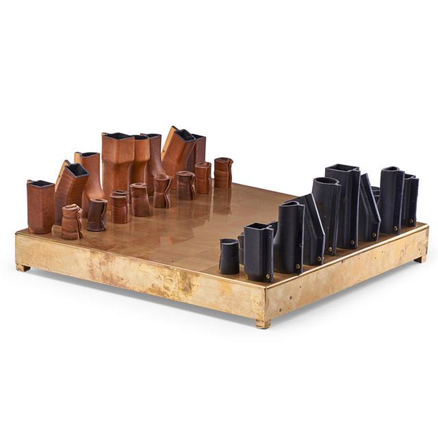 Simon Hasan, 'Chess set', 2010, Other, Boiled leather, brass, Rago/Wright