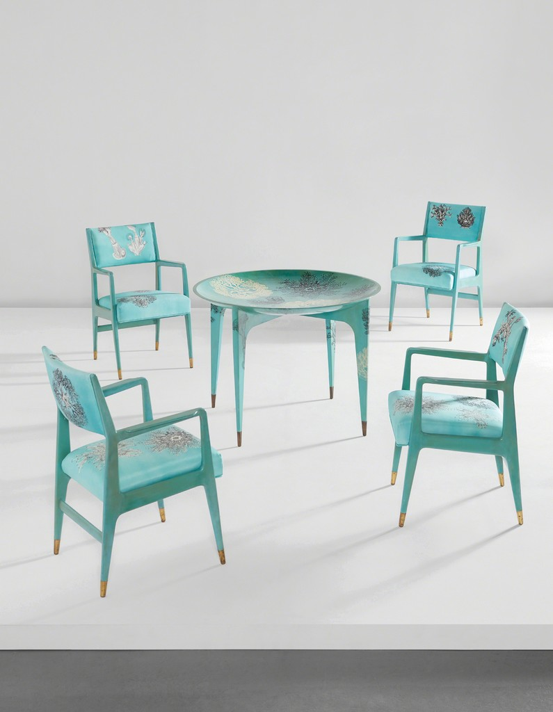 "Unique ""Madrepore"" dining table and set of four armchairs"
