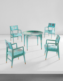 """Unique """"Madrepore"""" dining table and set of four armchairs"""