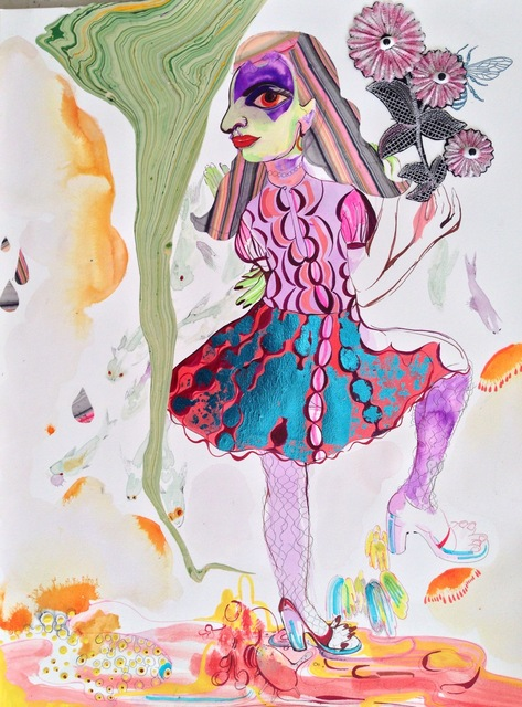 ", 'Not so so silent, outspoken when there be disgusting disaster she be named ""Sky"" loved both bees and flies. Seasons surrendered when her temper chased away and colored flaming and flowered sent her pleasures of spring to widen, open where once then and hence before could be waiting could now be rendered in her tickle and fancy!,' 2014, Galerie Nathalie Obadia"