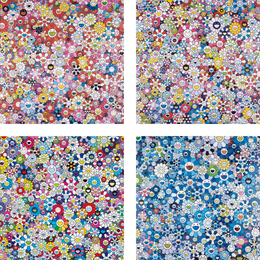 Takashi Murakami, 'Shangri-La Pink; Bouquet of Love; Shangri-La Shangri-La Shangri-La; and Shangri-La Blue,' 2012-2016, Phillips: Evening and Day Editions