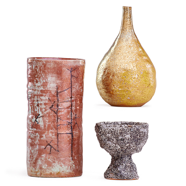 Beatrice Wood, 'Gold Iridescent Teardrop Vase, Oxblood Cylindrical Vase, And Small Volcanic Coupe, Ojai, CA', Rago/Wright