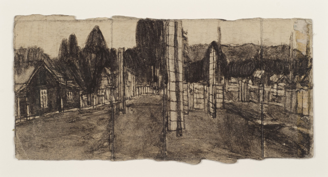 James Castle, 'Untitled (Landscape with totem)', Drawing, Collage or other Work on Paper, Soot and spit on found paper, Fleisher/Ollman