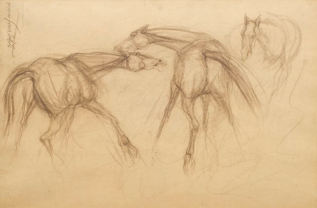 """, 'Early Horses I, Drawing, Conte on paper by Modern Indian Artist Sunil Das """"In Stock"""",' 1956, Gallery Kolkata"""