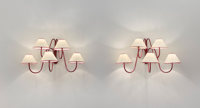 ", 'Pair of 5 arm ""bouquet"" wall lights,' ca. 1957, Galerie Jacques Lacoste"