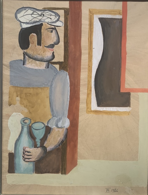 Henryk Streng/ Marek Włodarski, 'Preparatory gouache for a Man with a Syphon painting', 1926, Drawing, Collage or other Work on Paper, Gouache on paper, Olszewski Gallery