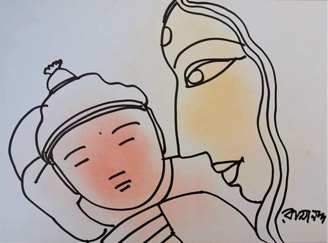 """Ramananda Bandyopadhyay, 'Mother & Child, Pastel Ink on Paper (Set of 2) by Modern Indian Artist """"In Stock""""', 2010-2020, Painting, Pastel & Ink on Paper, Gallery Kolkata"""
