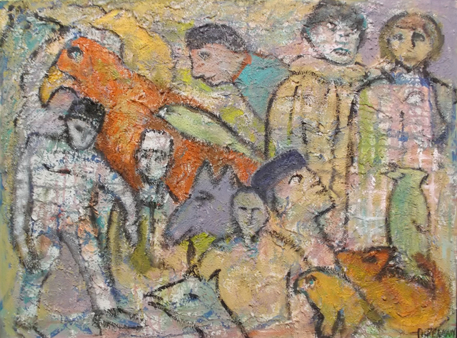 Florence Putterman, 'Allegoric Legends XII', Painting, Acrylic & Sand, Walter Wickiser Gallery