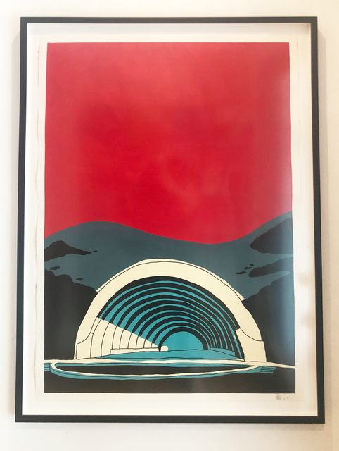 """Marz Junior, '""""Los Angeles  Hollywood Bowl"""" -red vertical framed ', 2019, Wallspace"""