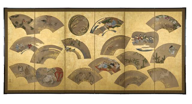 Kano Toshinobu, 'Folding Screen, Fans (T-3249)', Edo period (1615, 1868), 19th century, Erik Thomsen