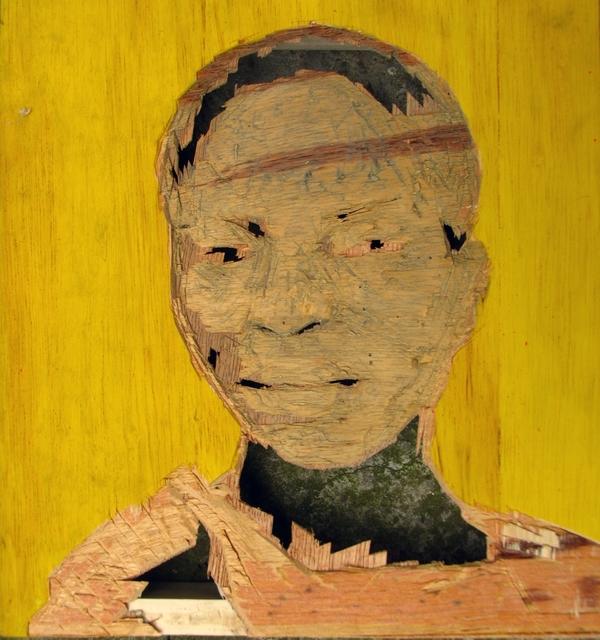 Aimé Mpane, 'Ici on creve #33  ', 2006-2008, Painting, Mixed media on wood panel, Skoto Gallery