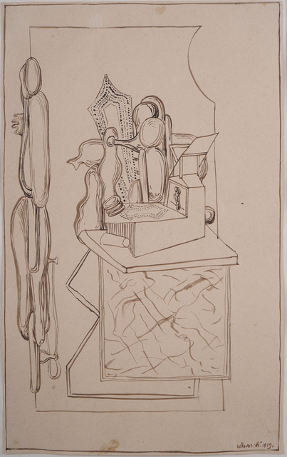 Henryk Streng/ Marek Włodarski, 'Composition with desk and lectern ', 1929, Drawing, Collage or other Work on Paper, Ink on paper, Olszewski Gallery