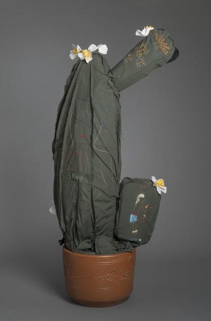 Margarita Cabrera, 'Space in Between: Saguaro (Gabriela Garza)', 2016, Sculpture, Border patrol uniform fabric, copper wire, pvc pipe, foam, thread, and terra cotta pot, Ruiz-Healy Art