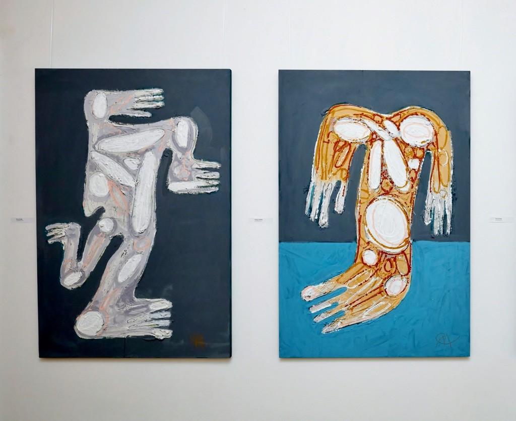 """FIRST"" (2018) and ""SECOND"" (2018) by Miroslav Cipár, 120 x 80 cm, acrylic on wood, photo credit: Karl Michalski"