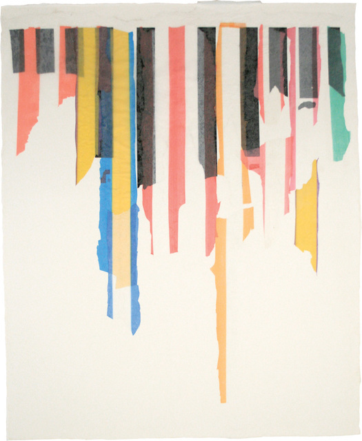 Ilene Sunshine, 'Urban Icicles', 2011, Drawing, Collage or other Work on Paper, Plastic bags (Sports Authority black stripes, various colored stripes from Syria & Mexico) and abaca on cotton base sheet, Dieu Donné