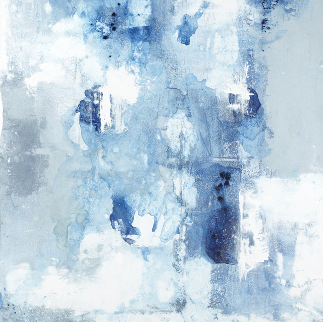"John Schuyler, '""Respiro #38"" Abstract mixed media painting on linen with blues, grays and white', 2016-2019, Eisenhauer Gallery"