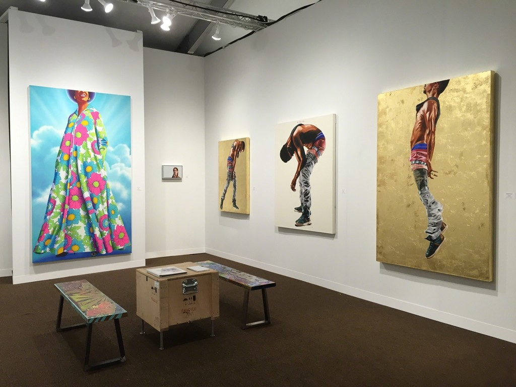 """From left: James Rieck """"All About Ease (Gloria), Cayce Zavaglia """"Sophie"""", Fahamu Pecou """"Defiance"""", """"Breathe"""", """"And Still I Rise"""""""